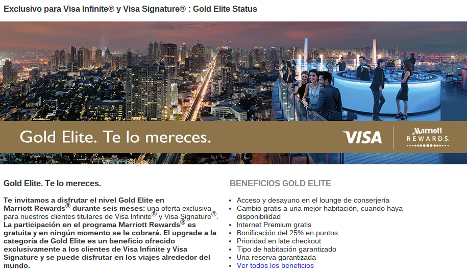 Marriot Estatus Gold Oro Gratis